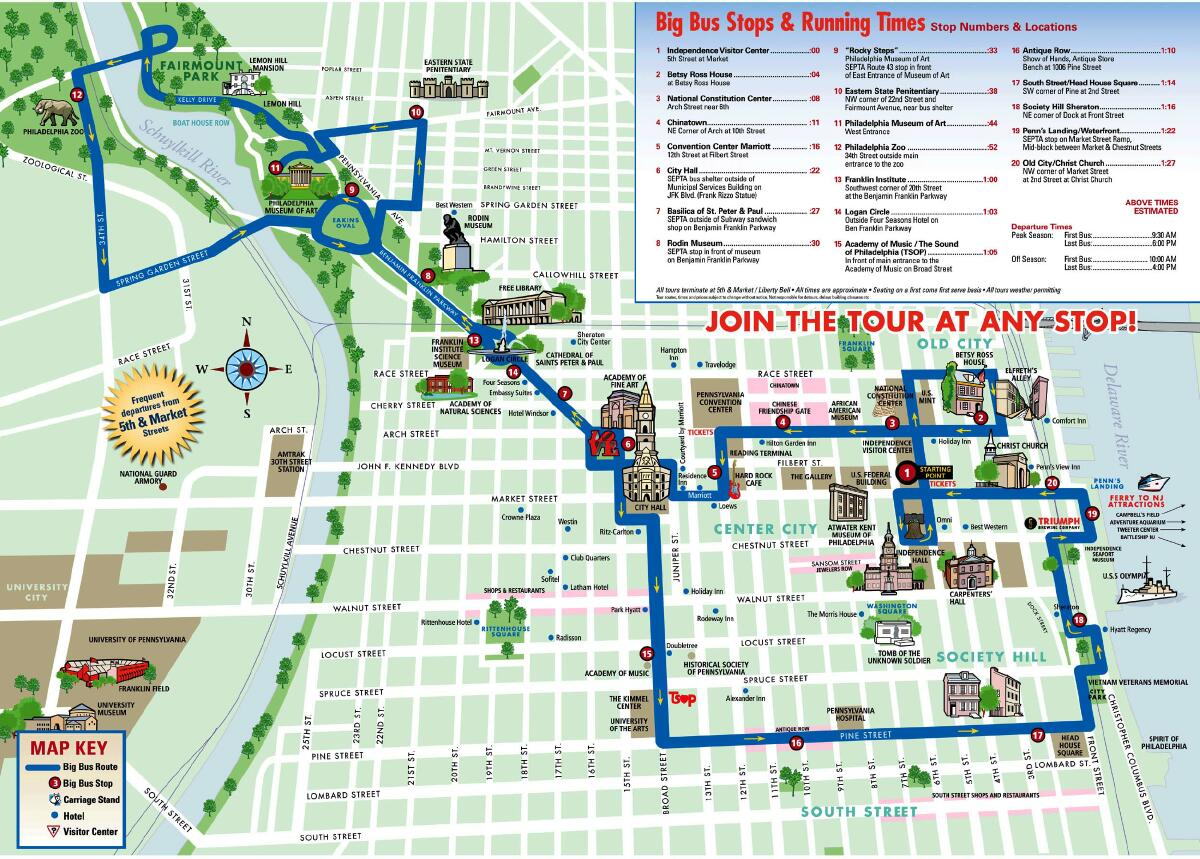 Philadelphia Trolley Tours Map